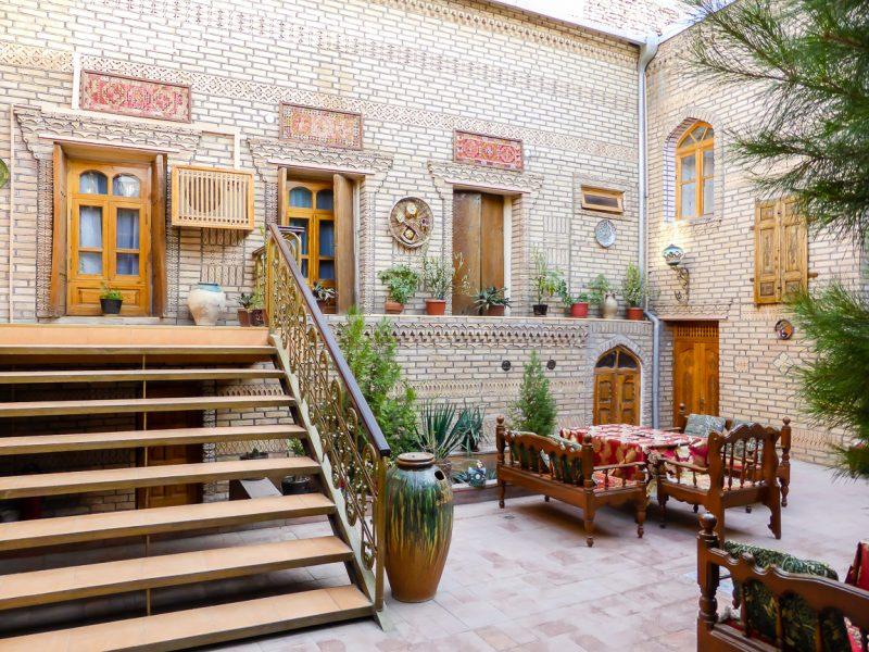 Binnenplein hotel in Bukhara, Oezbekistan