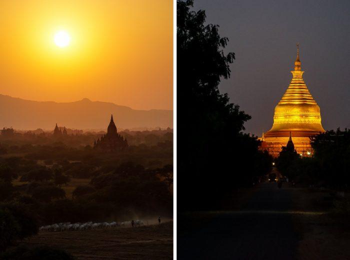 Tempels bij zonsondergang in Bagan, Myanmar