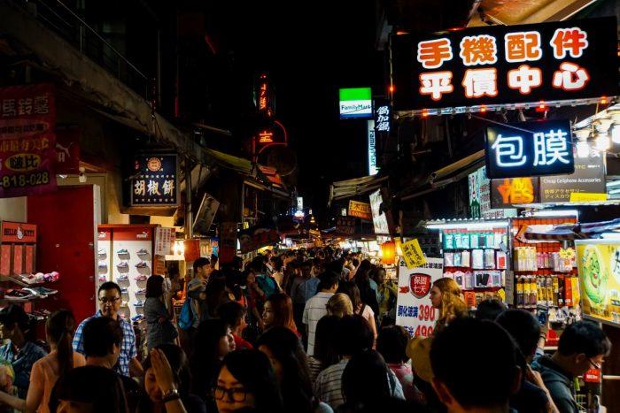 Drukte op Night Market in Taipei, Taiwan