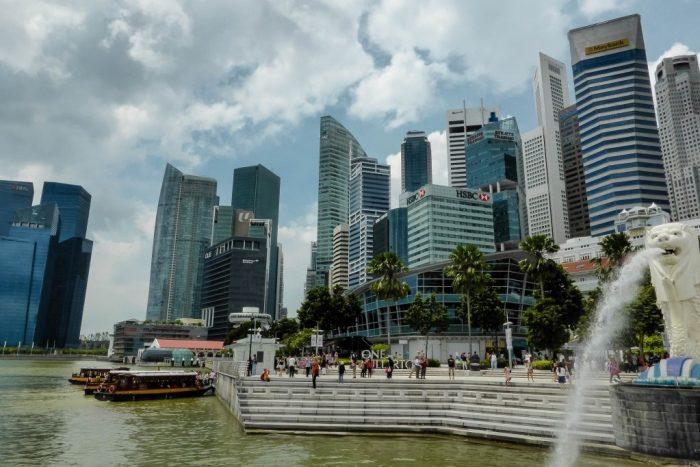 Merlion bij Marina Bay, Singapore
