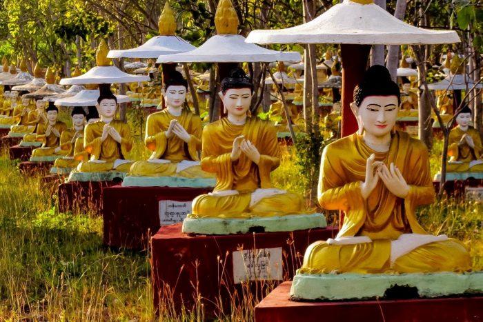 Beelden bij bodhibomen in Monywa, Myanmar