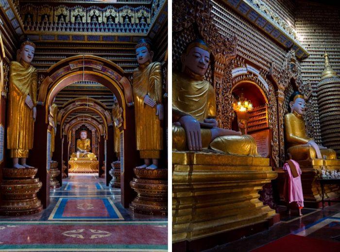 Binnen bij Thanboddhay nabij Monywa, Myanmar