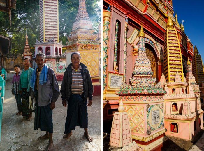 Mannen bij Thanboddhay Pagoda Myanmar