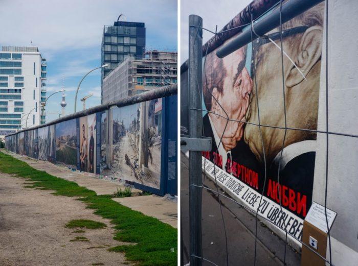 Muur op de East Side Gallery in Berlijn, Duitsland