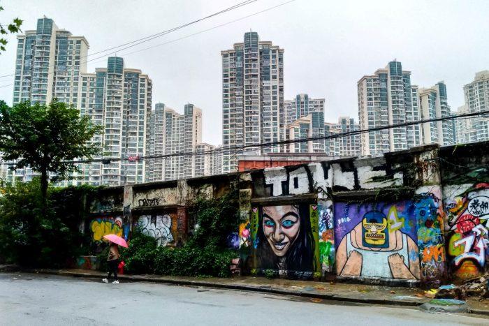 Street art in Shanghai bij M50, China