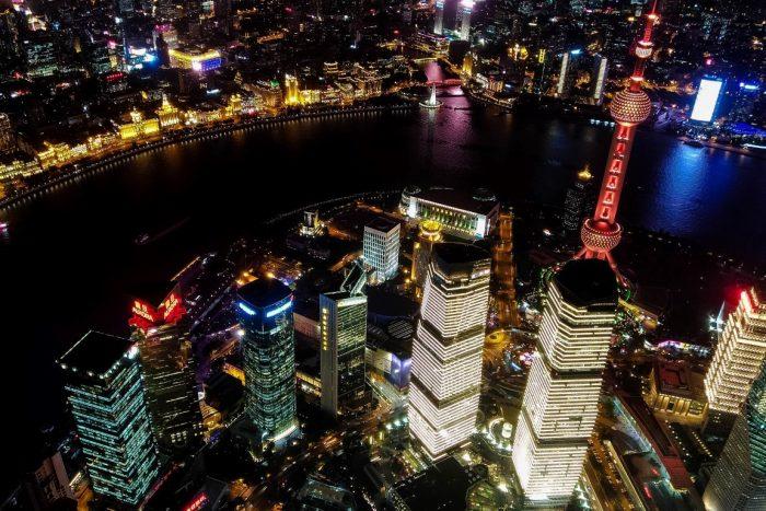 Uitzicht vanaf de Shanghai Tower in Shanghai, China