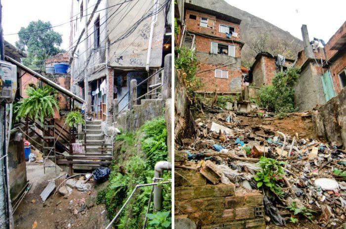 Afval in fevala Rocinha in Rio de Janeiro, Brazilië