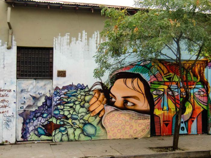Street art in Bellavista in Santiago de Chile, Chili