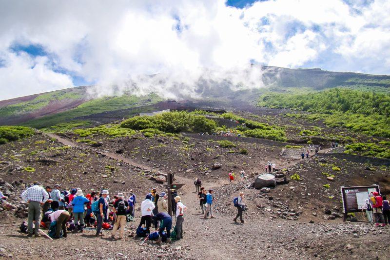 Wandelpad op Mount Fuji Fujisan, Japan