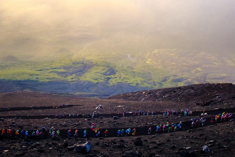 Yoshida Trail op Mount Fuji Fujisan, Japan