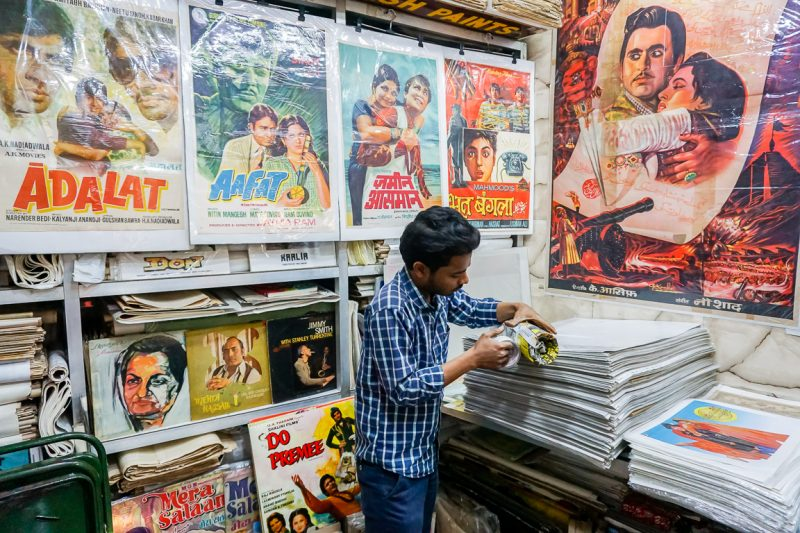Vintage bollywood posters in Mumbai, India