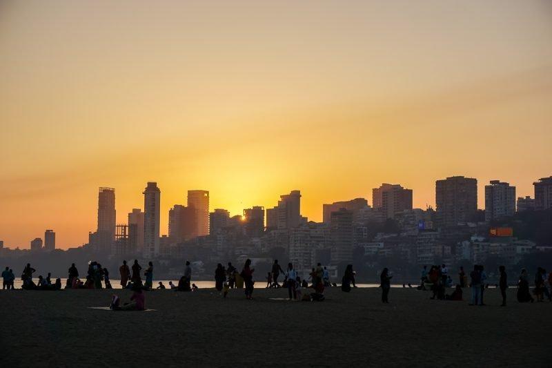 Chowpatty Beach in Mumbai, India