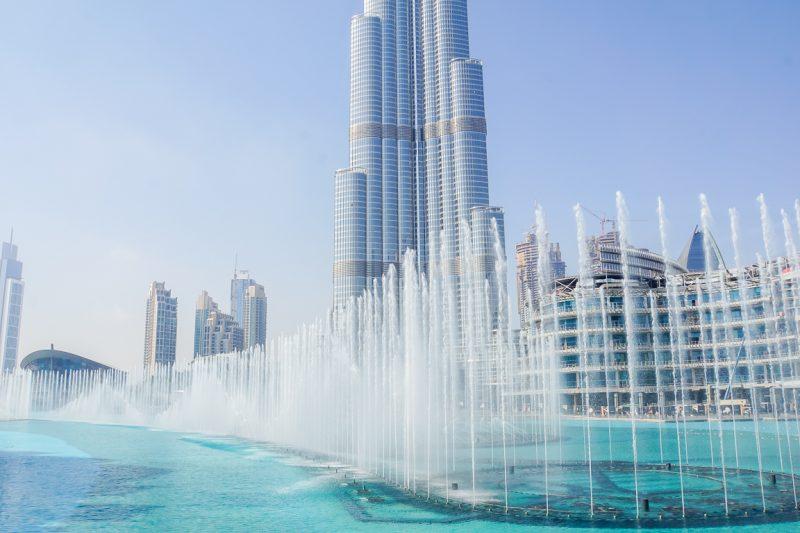 De Dubai Fountains bij de Burj Khalifa, Dubai
