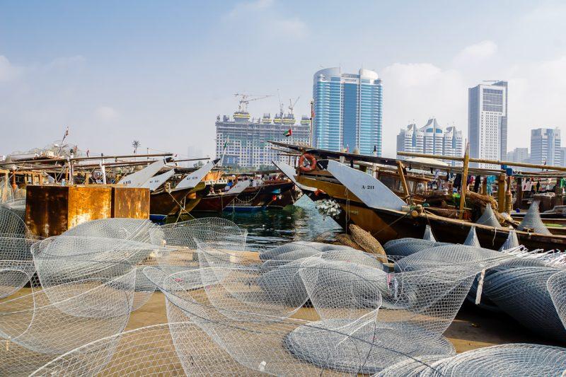 Visnetten in Al Mina in Abu Dhabi