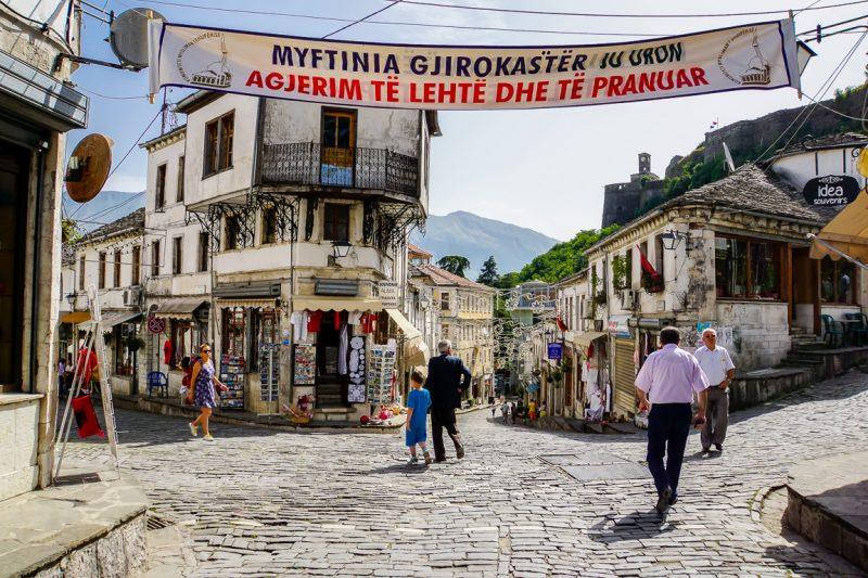 Centrum van Gjirokaster, Albanië