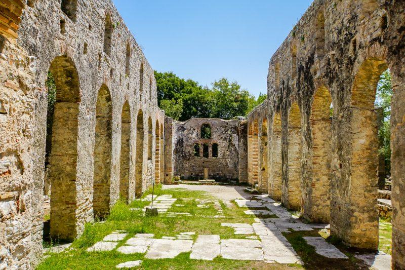 Ruïnes in Butrint nabij Ksamil en Sarande, Albanië