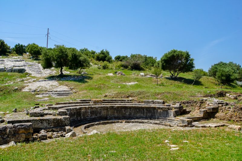 Uitzicht over Orikum nabij Vlorë in Albanië