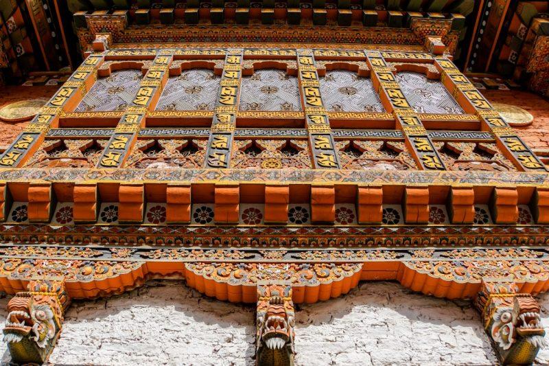 Bijzonder houtsnijwerk in Punakha Dzong, Bhutan