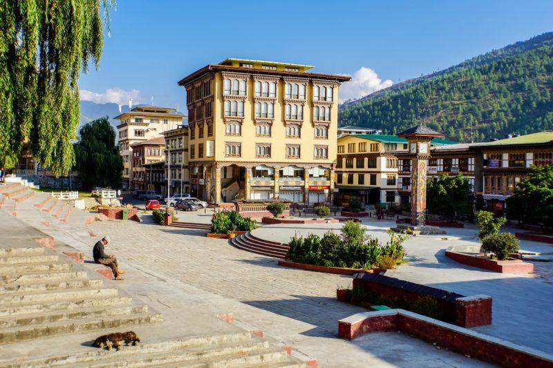 Het centrale plein in Thimpu, Bhutan