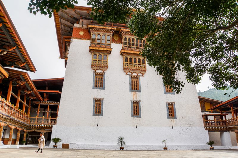Imposante gebouwen in Punakha Dzong, Bhutan
