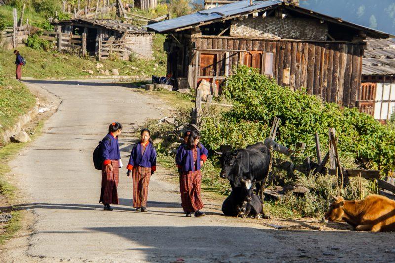 Meisjes in Phobjikha Valley op weg naar school, Bhutan