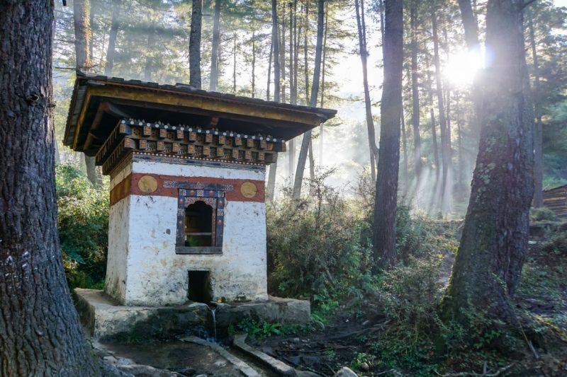 Tempel in het bos op de weg naar Tiger's Nest, Bhutan