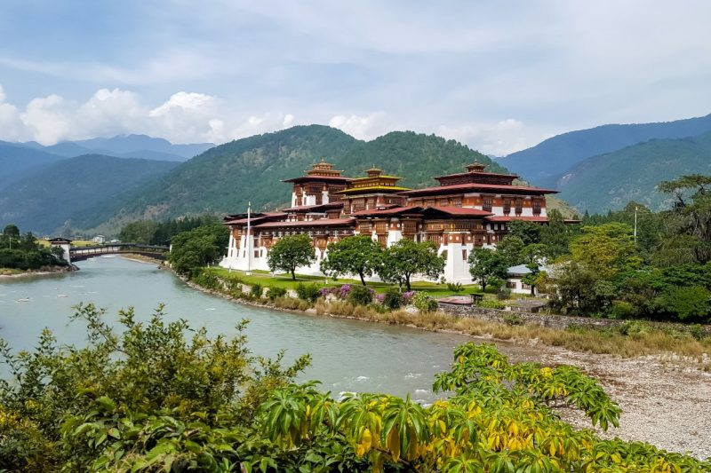 Uitzicht op Punakha Dzong, Bhutan