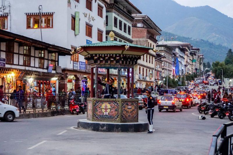 Verkeersregelaars in Thimpu, Bhutan