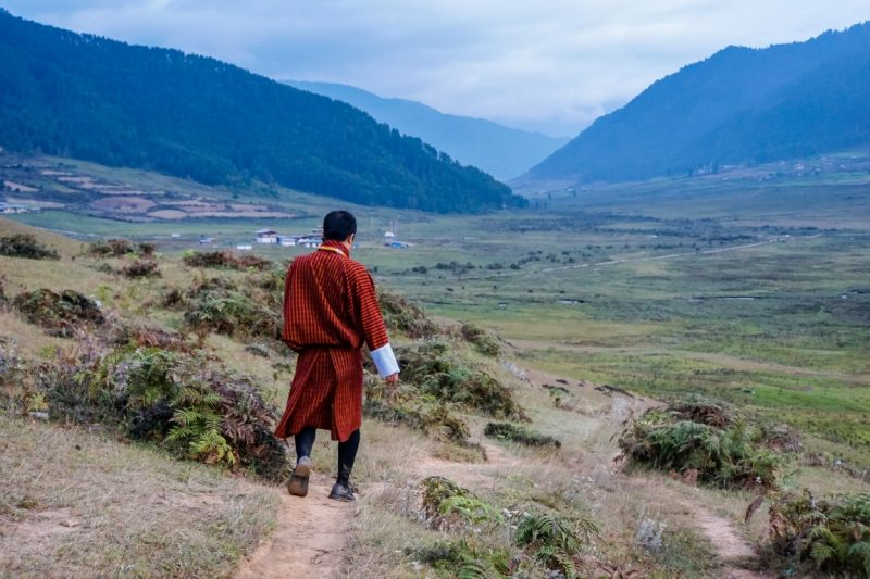 Wandelen in Phobjikha Valley, Bhutan