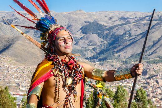 Acteur van show Inti Raymi in Cuzco, Peru