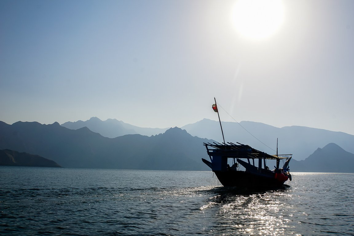 Dhow in fjord in Musandam, Oman