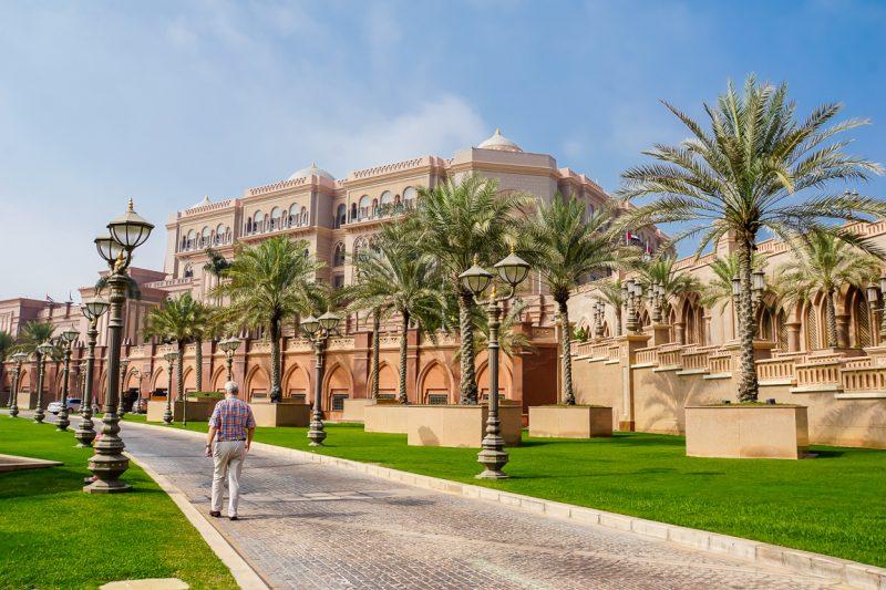 Entree van het Emirates Palace Hotel in Abu Dhabi, VAE