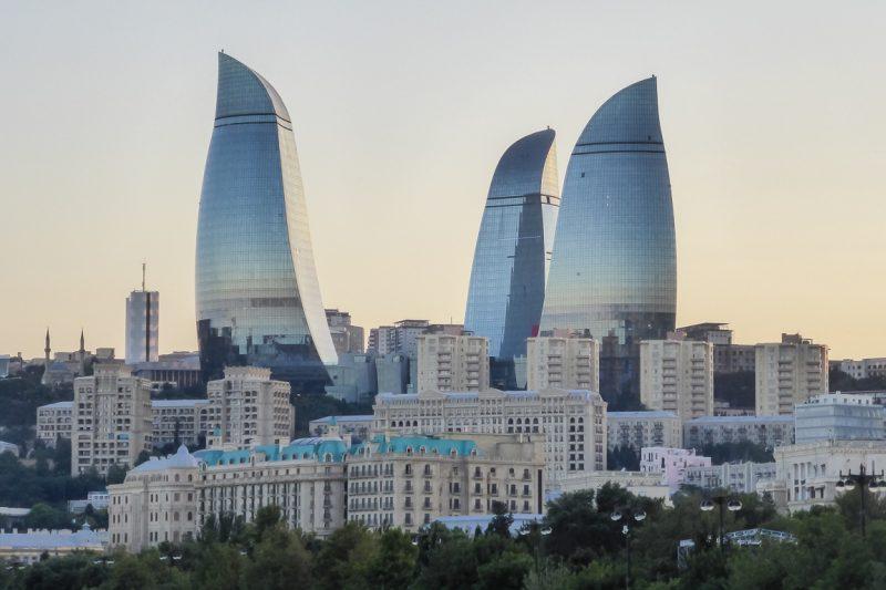 Flame Towers in Baku, Azerbeidzjan