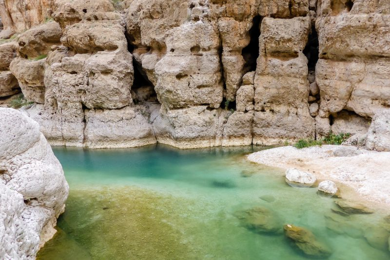 Helder water in Wadi Shab in Oman