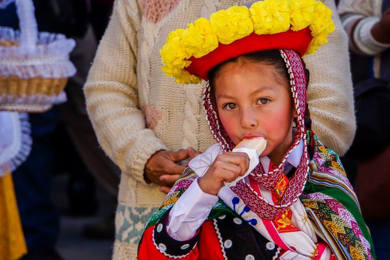 Meisje bij Inti Raymi in Cuzco, Peru