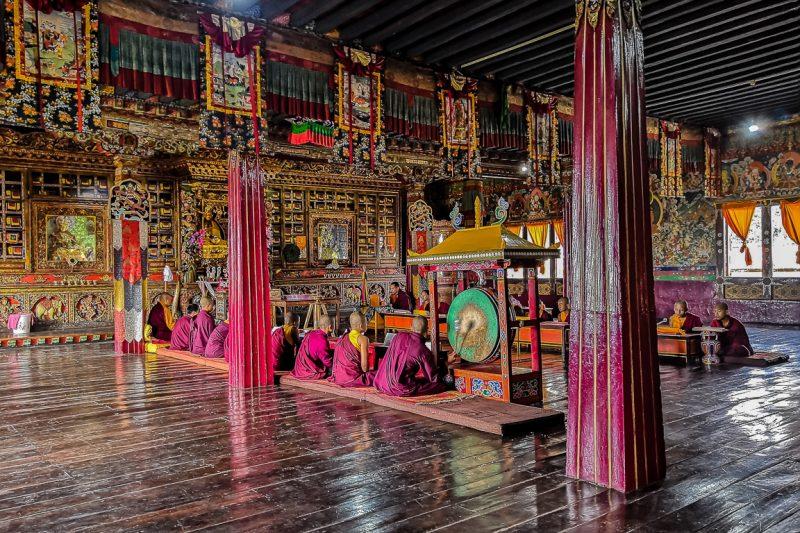 Reciterende monniken bij het Tsuklakhang klooster in Gangtok in Sikki