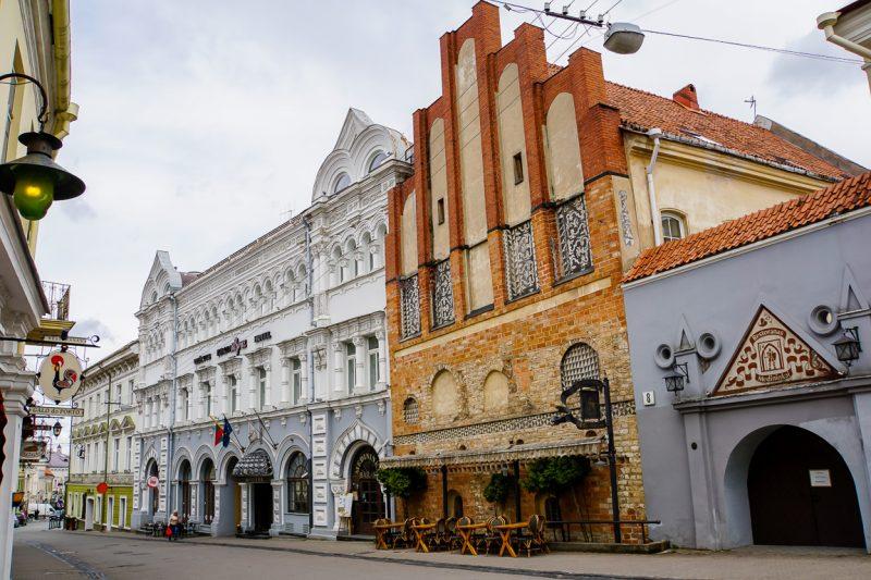 Rij oude huizen in Vilnius, Litouwen