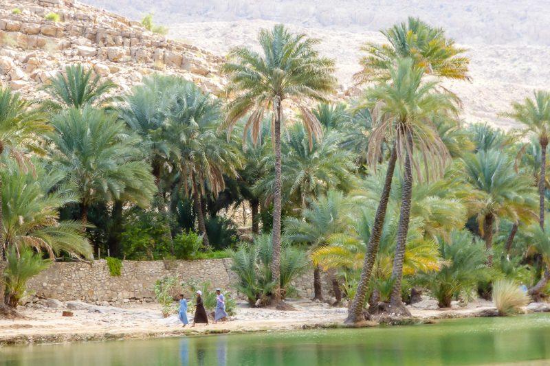 Spelende jongens in Wadi Bani Khalid in Oman