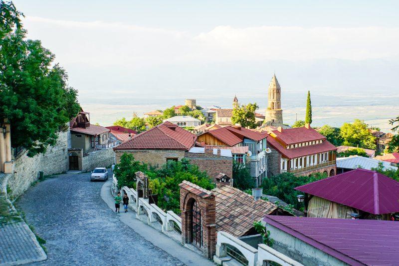 Straatje in Sighnaghi in Georgië