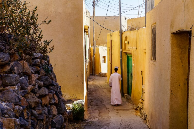 Straatje in dorpje in Jebel Akhdar, Oman