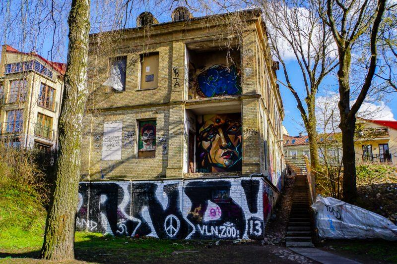 Streetart in Uzupis in Vilnius, Litouwen