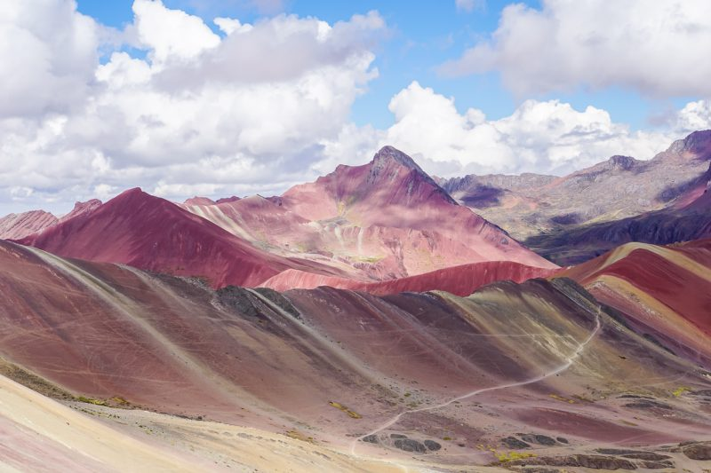 Uitzicht vanuit Rainbow Mountain, Apu Vinicunca, Peru